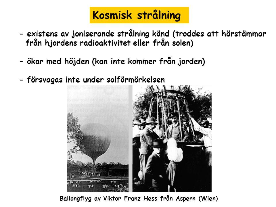 Kosmisk strålning - existens av joniserande strålning känd (troddes att härstämmar. från hjordens radioaktivitet eller från solen)