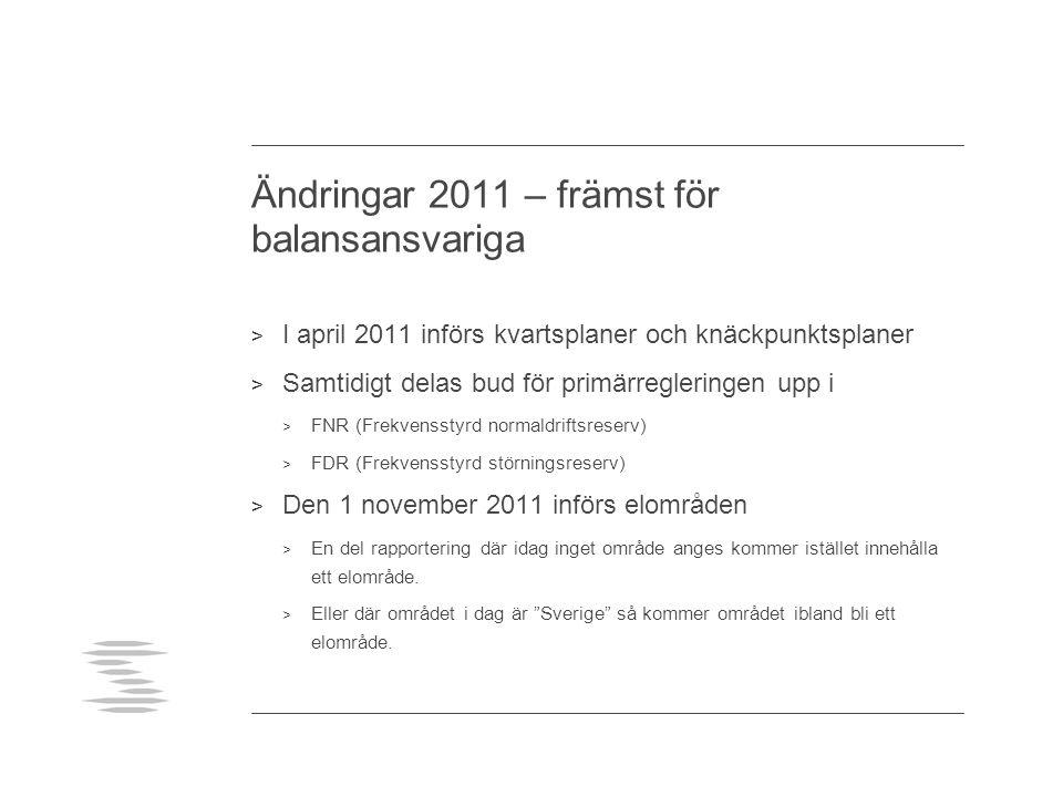 Ändringar 2011 – främst för balansansvariga