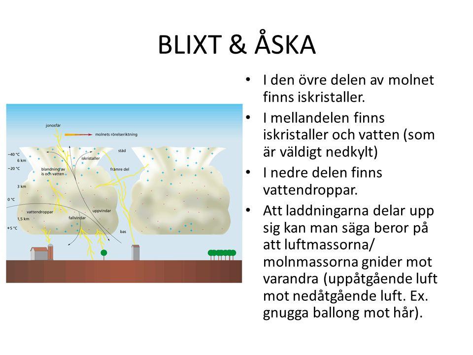 BLIXT & ÅSKA I den övre delen av molnet finns iskristaller.