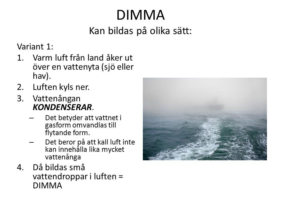 DIMMA Kan bildas på olika sätt: