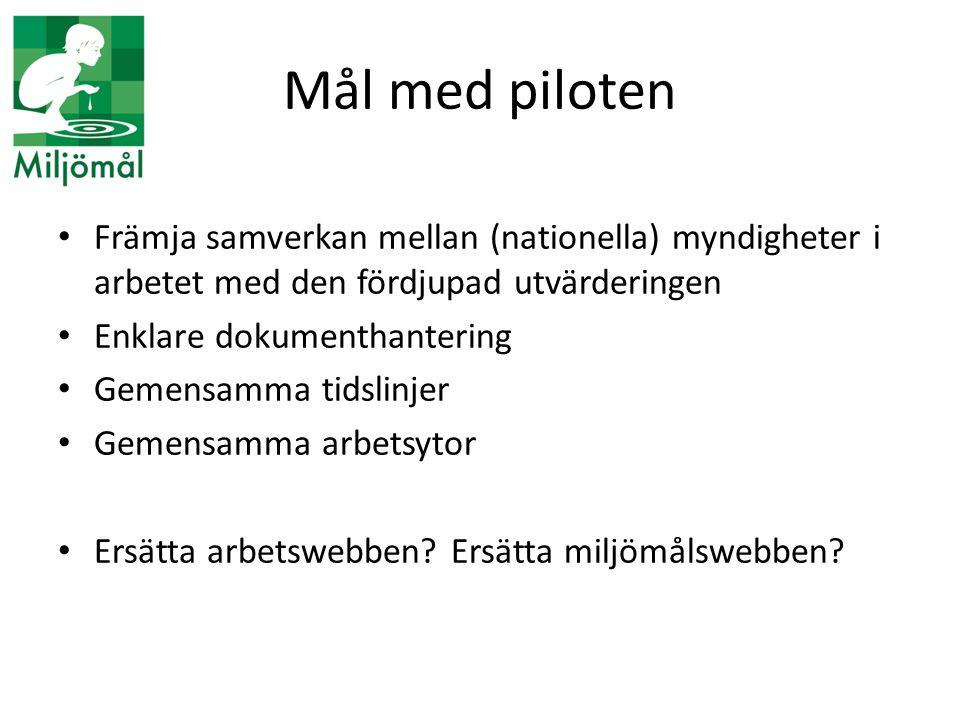 Mål med piloten Främja samverkan mellan (nationella) myndigheter i arbetet med den fördjupad utvärderingen.