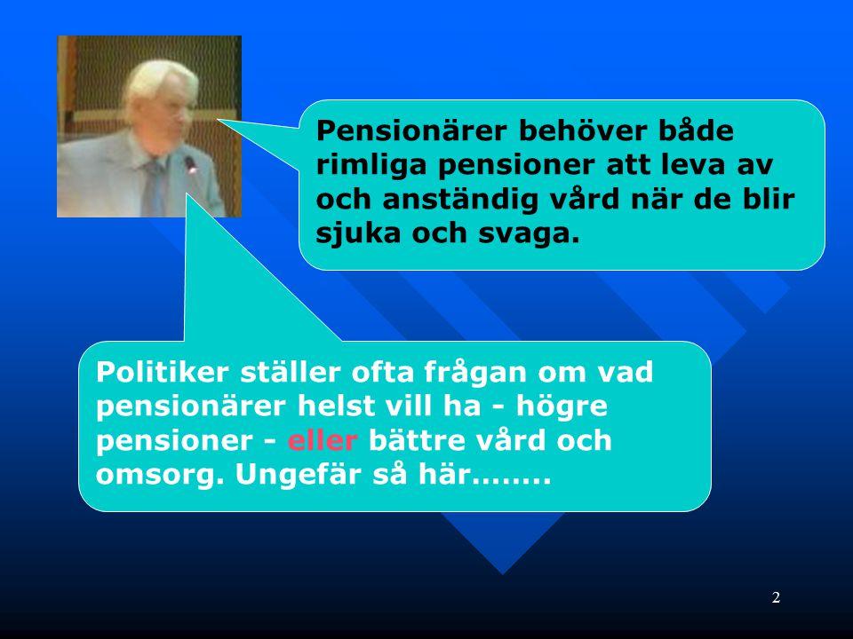Pensionärer behöver både rimliga pensioner att leva av och anständig vård när de blir sjuka och svaga.