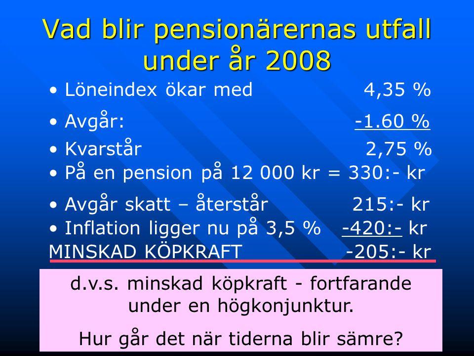 Vad blir pensionärernas utfall under år 2008