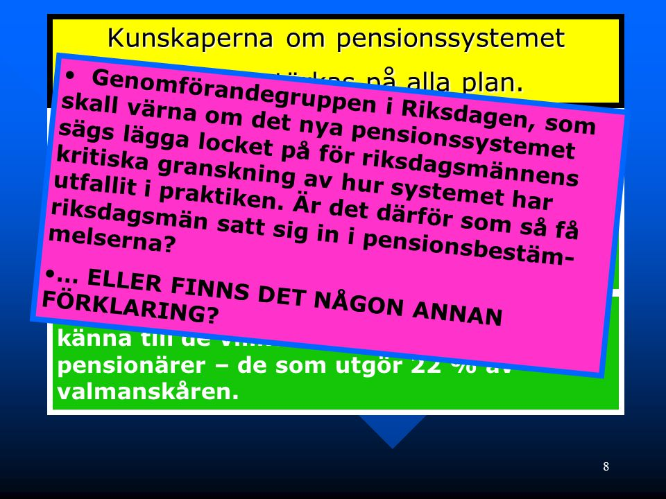 Kunskaperna om pensionssystemet behöver stärkas på alla plan.