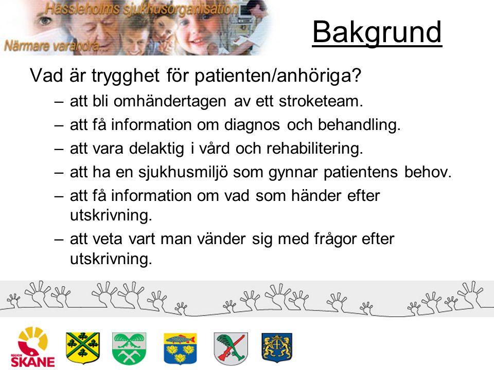Bakgrund Vad är trygghet för patienten/anhöriga