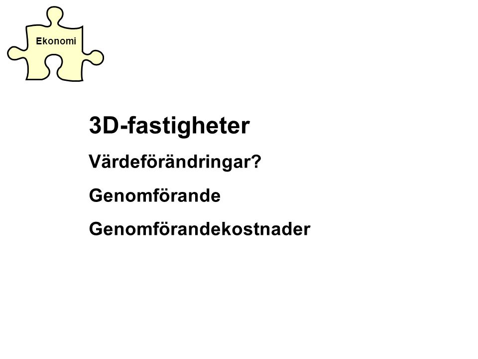 3D-fastigheter Värdeförändringar Genomförande Genomförandekostnader