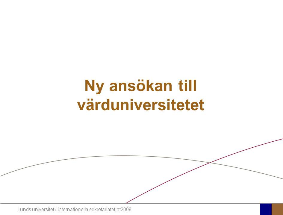 Ny ansökan till värduniversitetet