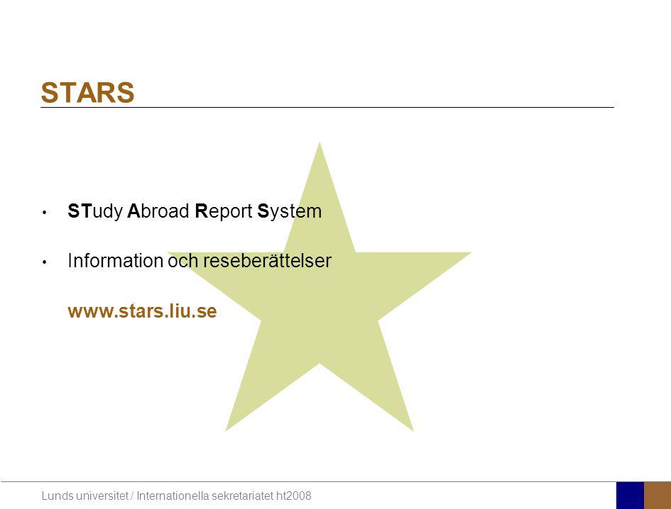 STARS STudy Abroad Report System Information och reseberättelser
