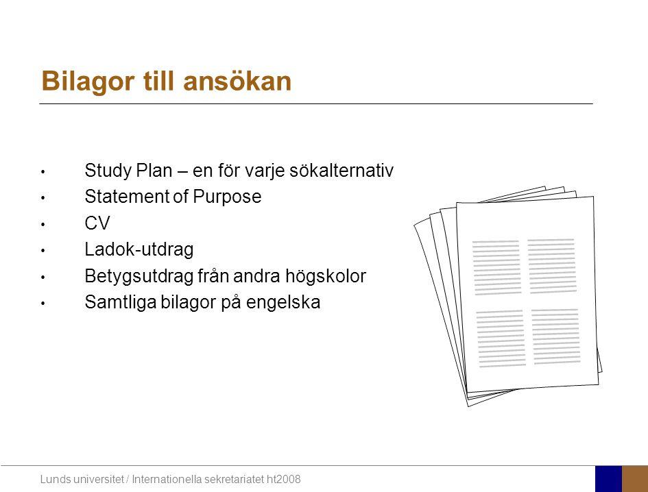 Bilagor till ansökan Study Plan – en för varje sökalternativ