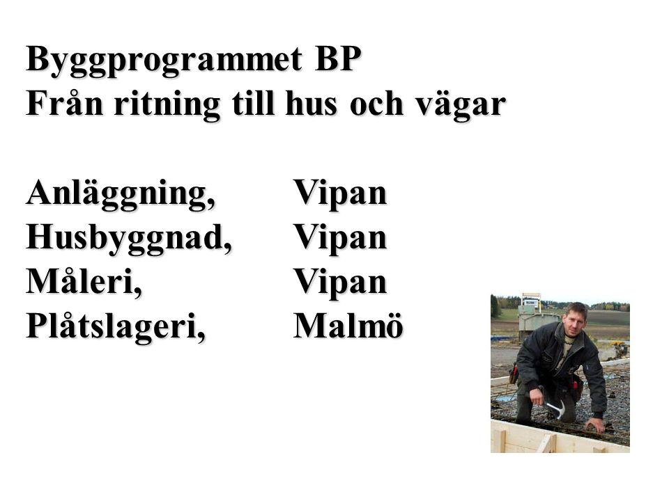 Byggprogrammet BP Från ritning till hus och vägar. Anläggning, Vipan. Husbyggnad, Vipan. Måleri, Vipan.