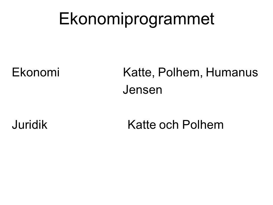 Ekonomiprogrammet Ekonomi Katte, Polhem, Humanus Jensen