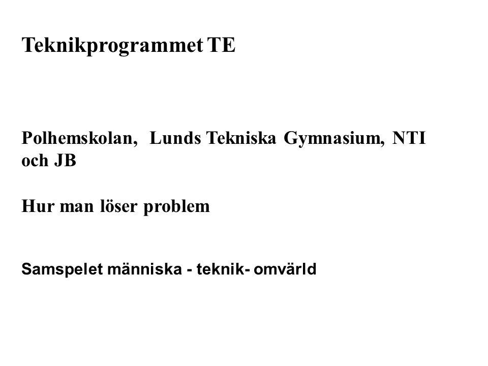 Teknikprogrammet TE Polhemskolan, Lunds Tekniska Gymnasium, NTI och JB