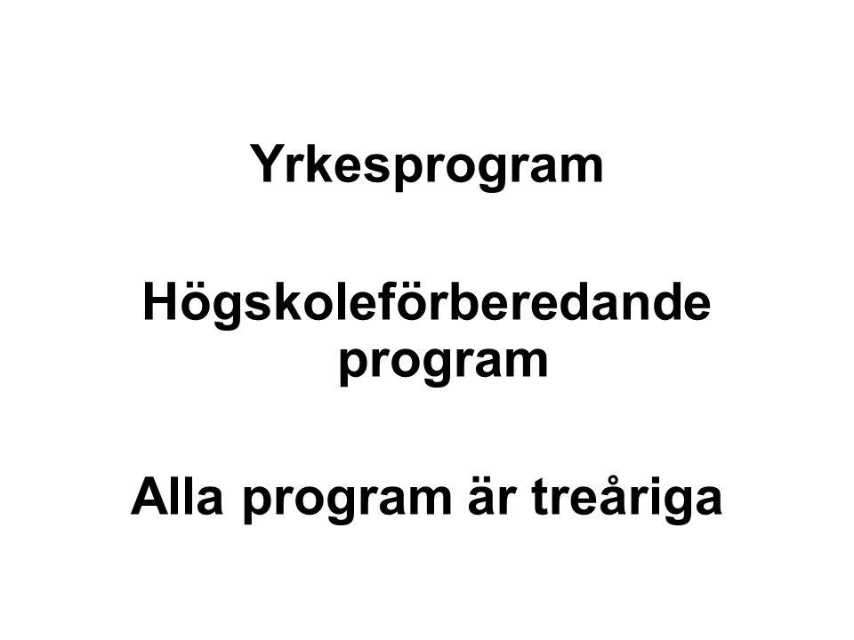 Högskoleförberedande program Alla program är treåriga