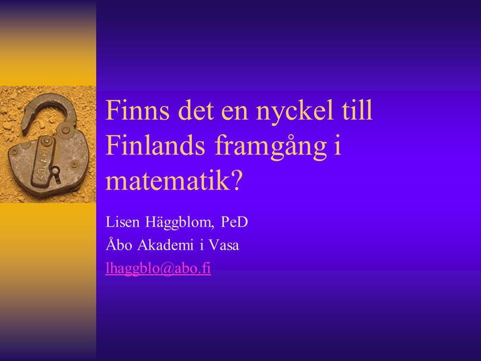 Finns det en nyckel till Finlands framgång i matematik