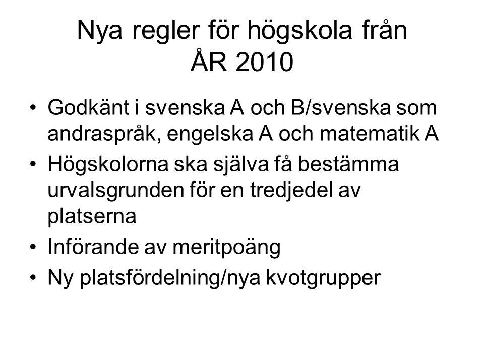 Nya regler för högskola från ÅR 2010