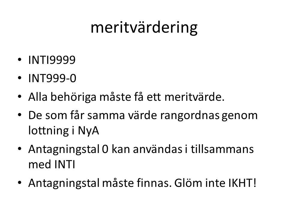 meritvärdering INTI9999 INT999-0