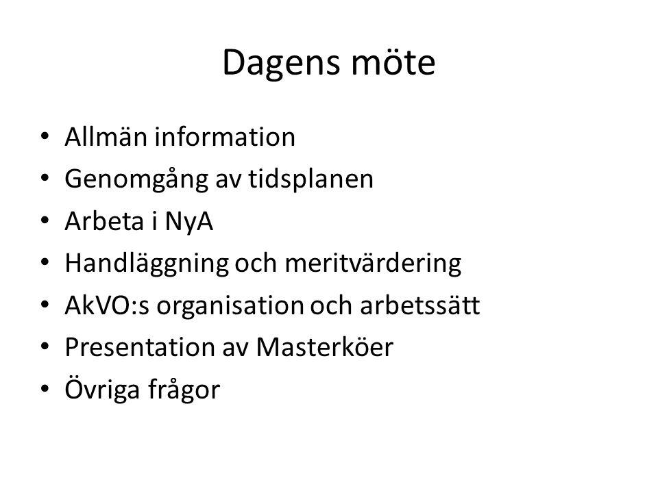 Dagens möte Allmän information Genomgång av tidsplanen Arbeta i NyA