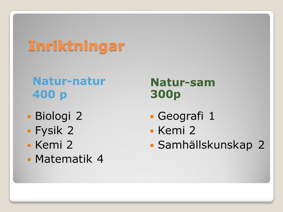 Inriktningar Natur-natur 400 p Natur-sam 300p Biologi 2 Fysik 2 Kemi 2