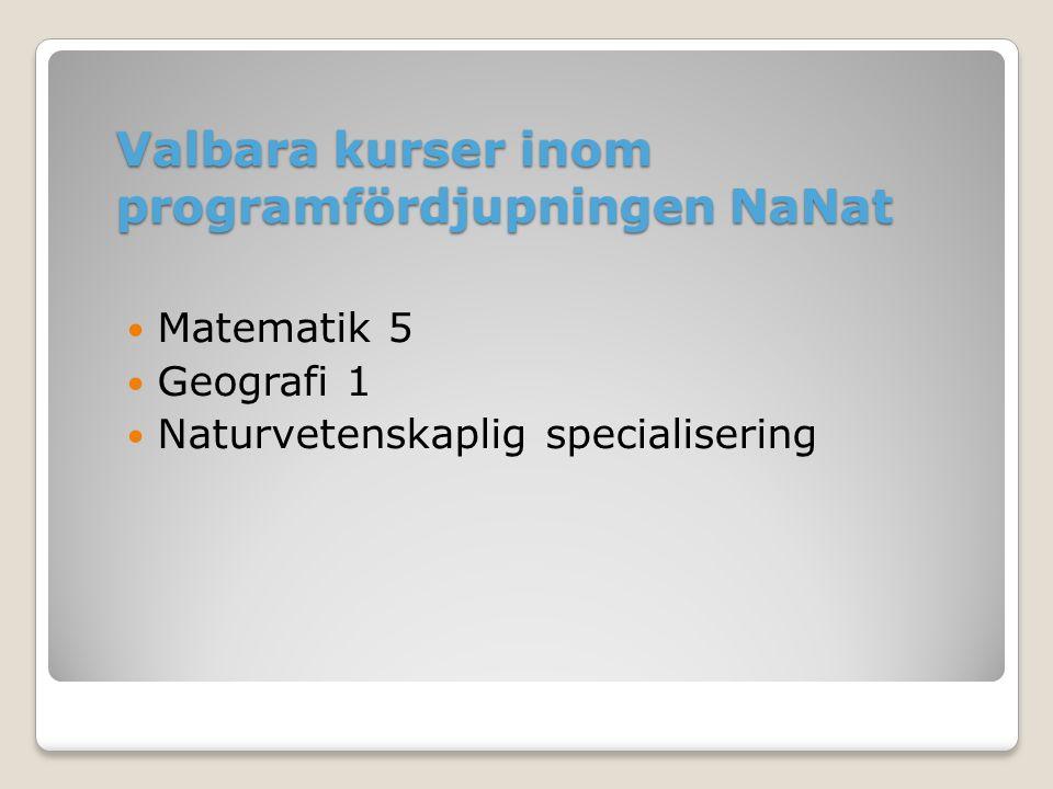 Valbara kurser inom programfördjupningen NaNat