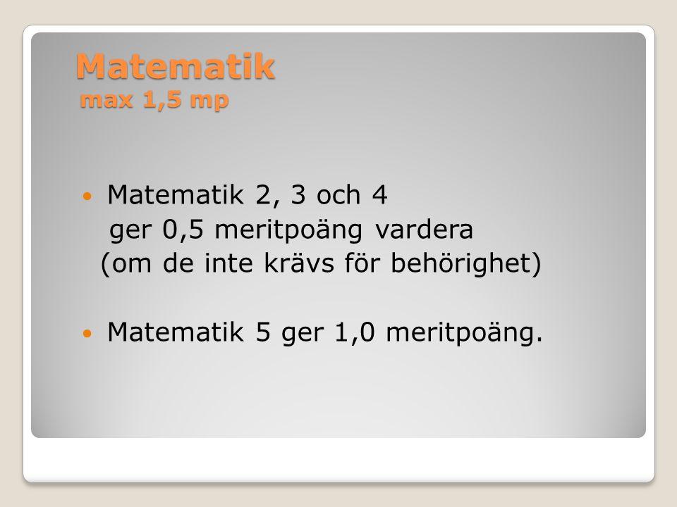 Matematik max 1,5 mp Matematik 2, 3 och 4 ger 0,5 meritpoäng vardera