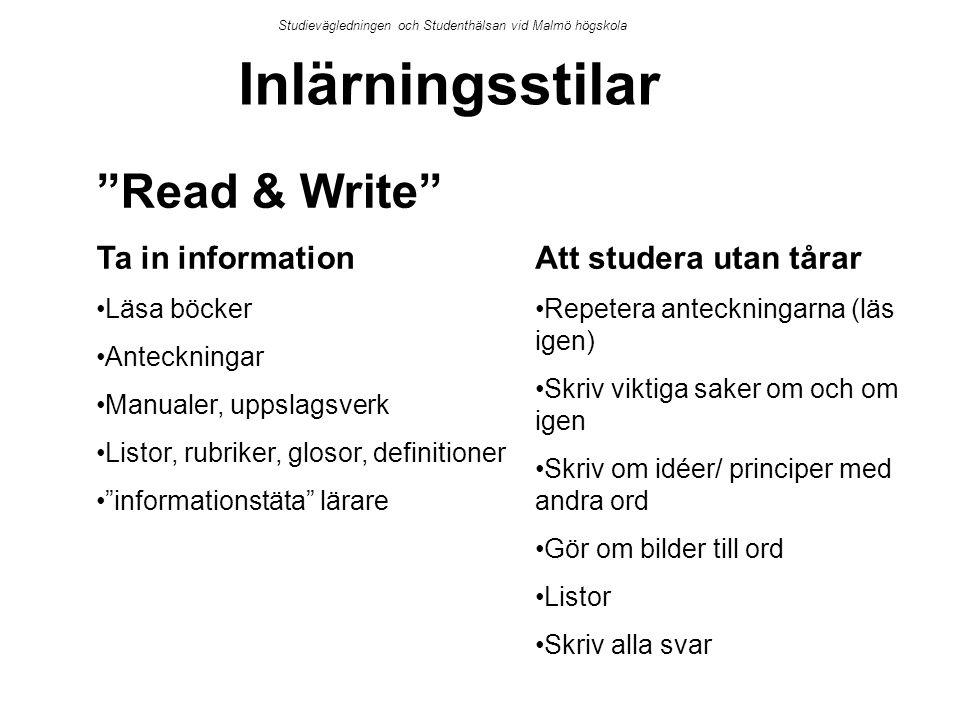 Inlärningsstilar Read & Write Ta in information