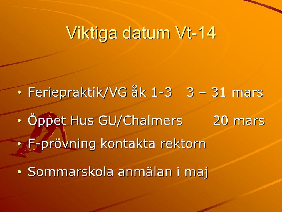 Viktiga datum Vt-14 Feriepraktik/VG åk 1-3 3 – 31 mars