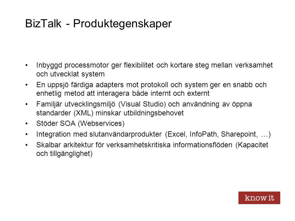 BizTalk - Produktegenskaper