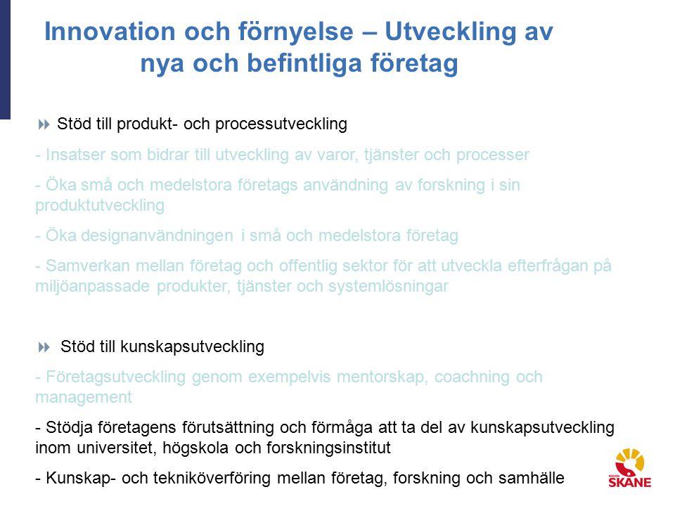 Innovation och förnyelse – Utveckling av nya och befintliga företag