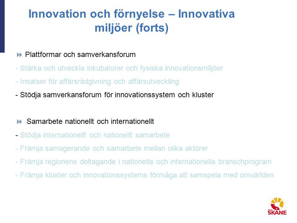 Innovation och förnyelse – Innovativa miljöer (forts)