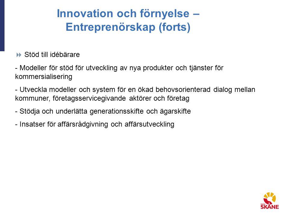 Innovation och förnyelse – Entreprenörskap (forts)