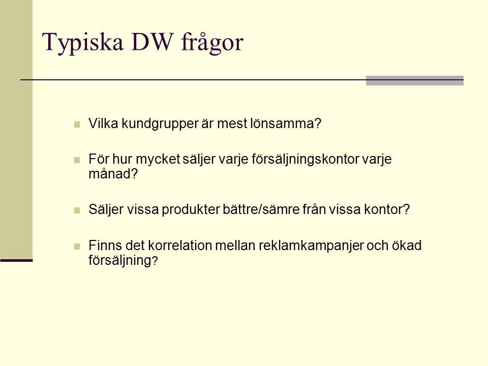 Typiska DW frågor Vilka kundgrupper är mest lönsamma