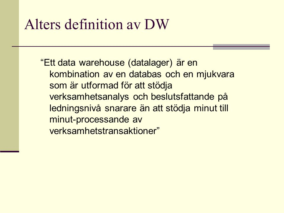 Alters definition av DW