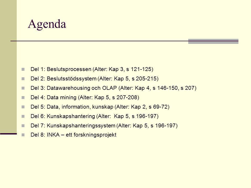 Agenda Del 1: Beslutsprocessen (Alter: Kap 3, s 121-125)