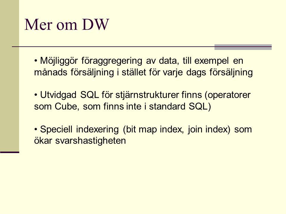 Mer om DW Möjliggör föraggregering av data, till exempel en månads försäljning i stället för varje dags försäljning.