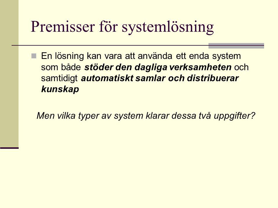 Premisser för systemlösning