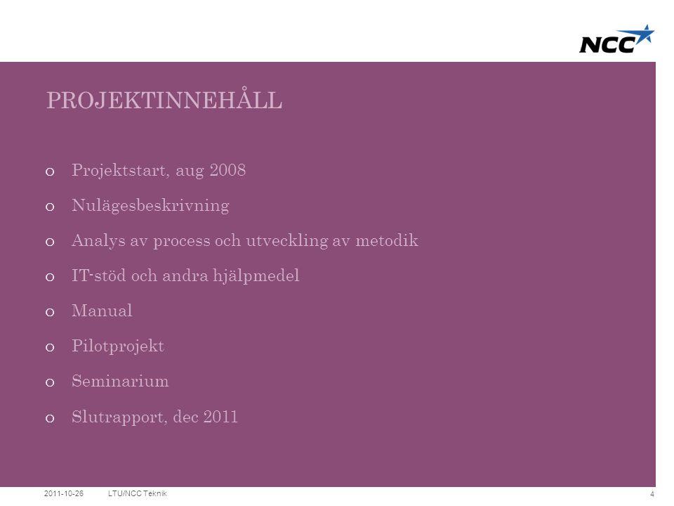 PROJEKTINNEHÅLL Projektstart, aug 2008 Nulägesbeskrivning