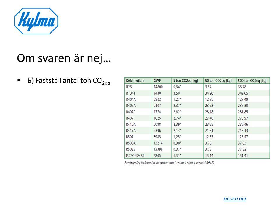 Om svaren är nej… 6) Fastställ antal ton CO2eq