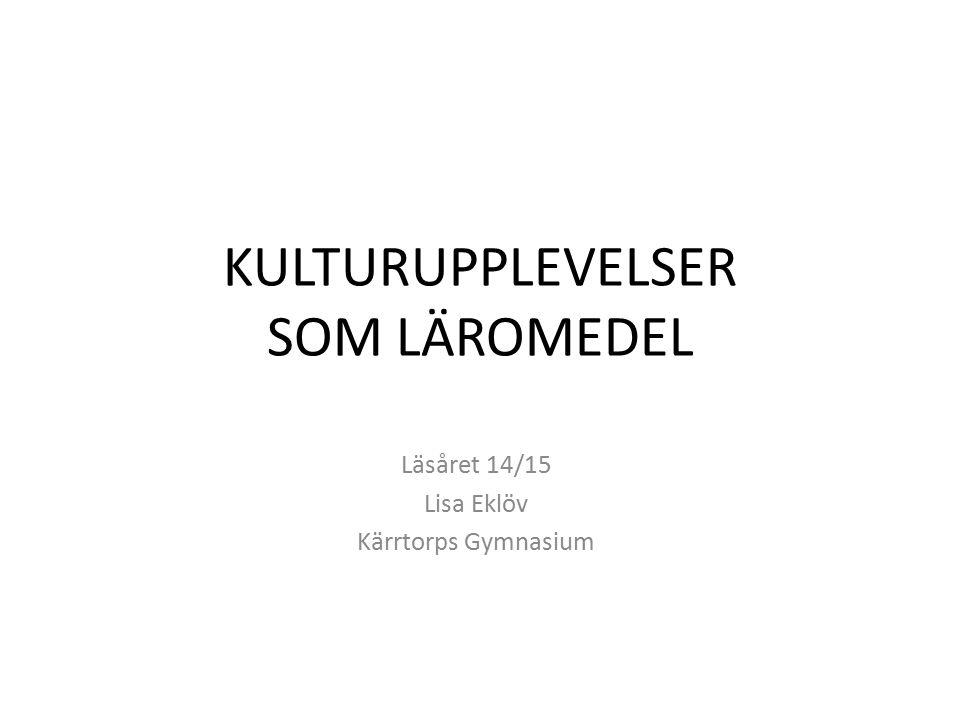 KULTURUPPLEVELSER SOM LÄROMEDEL