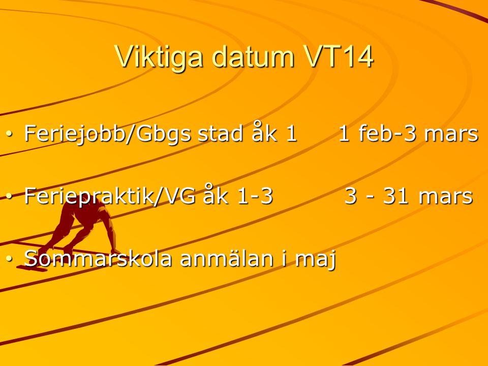 Viktiga datum VT14 Feriejobb/Gbgs stad åk 1 1 feb-3 mars