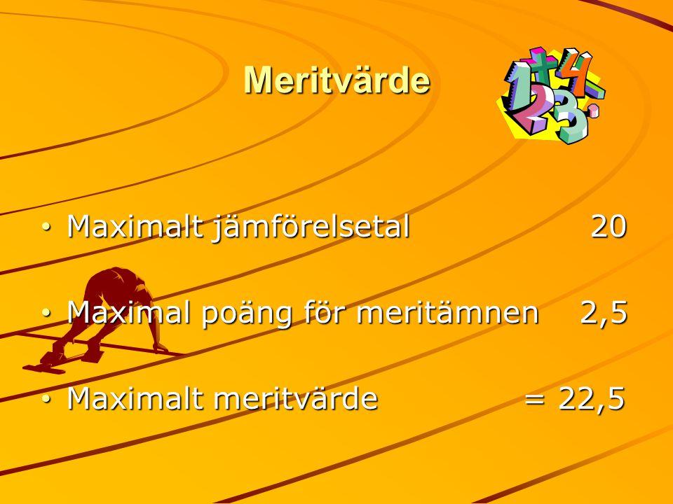 Meritvärde Maximalt jämförelsetal 20 Maximal poäng för meritämnen 2,5
