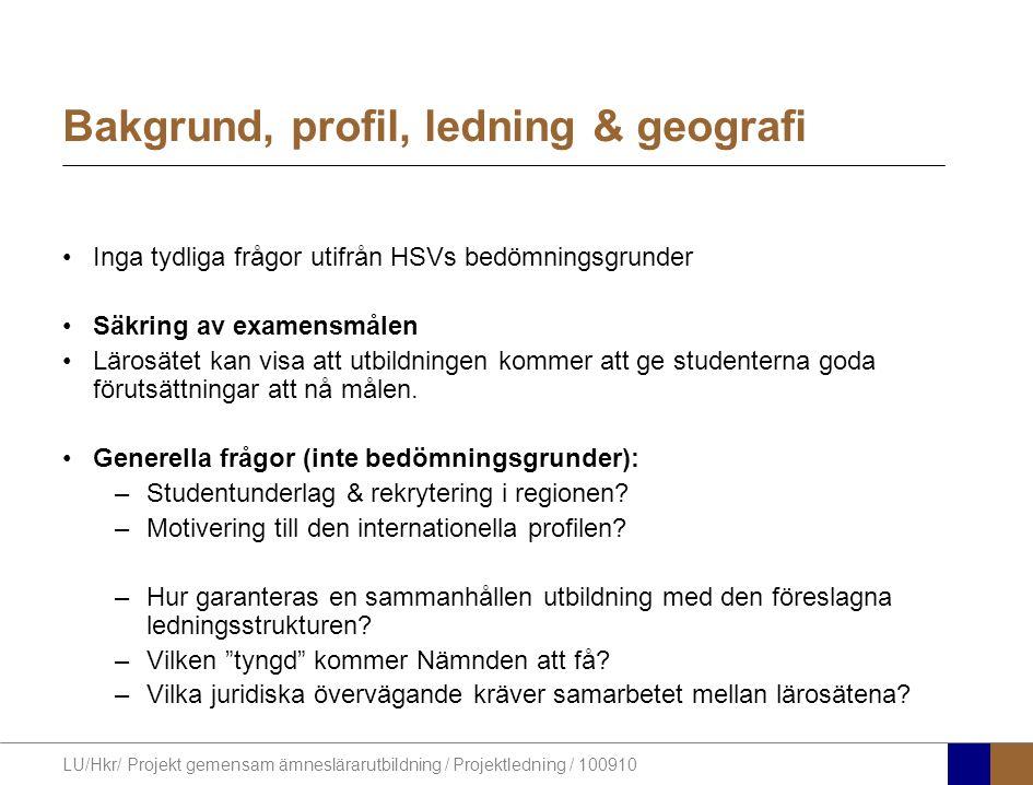 Bakgrund, profil, ledning & geografi