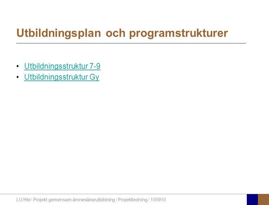 Utbildningsplan och programstrukturer