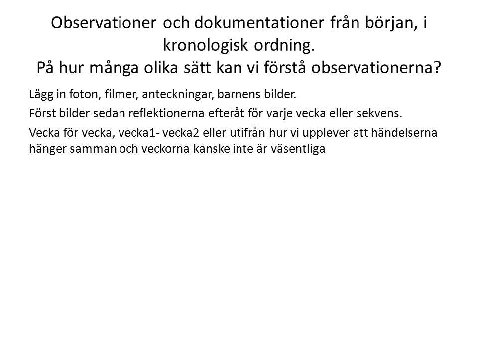 Observationer och dokumentationer från början, i kronologisk ordning