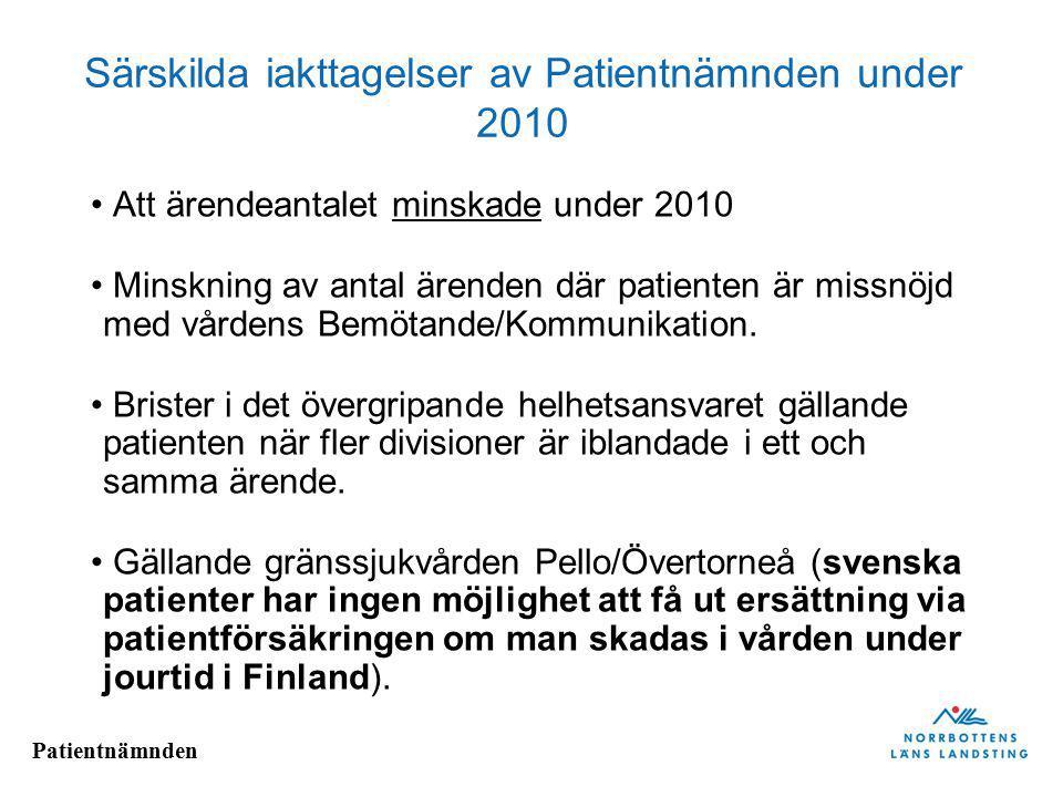 Särskilda iakttagelser av Patientnämnden under 2010