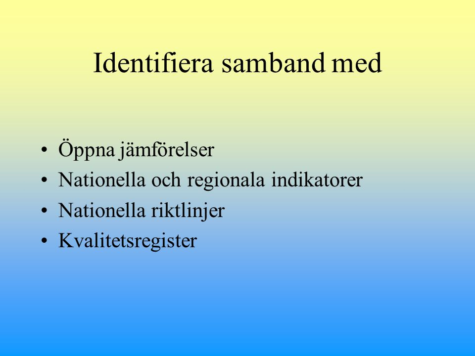 Identifiera samband med