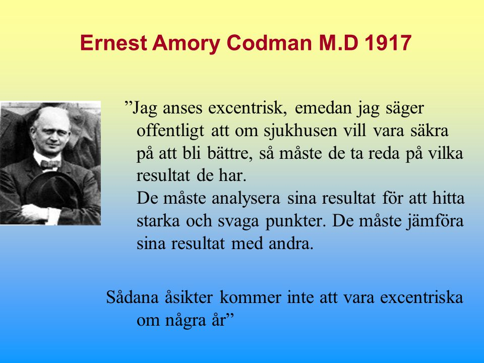 Ernest Amory Codman M.D 1917