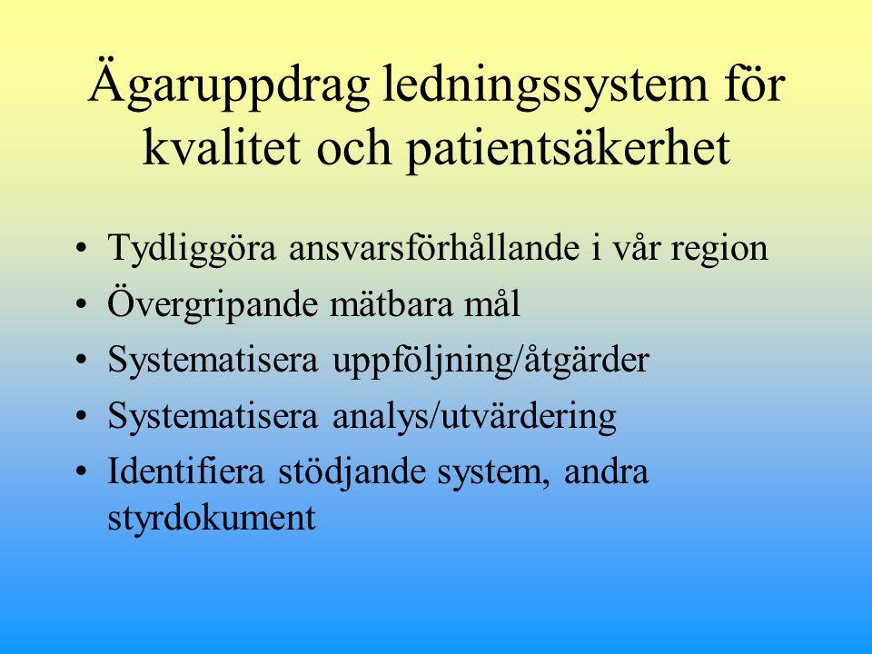 Ägaruppdrag ledningssystem för kvalitet och patientsäkerhet