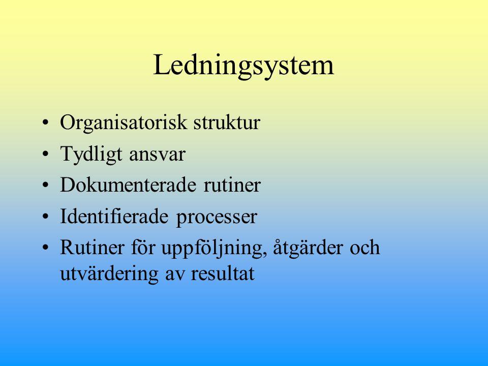 Ledningsystem Organisatorisk struktur Tydligt ansvar