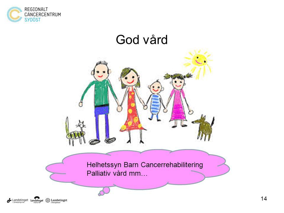 God vård Helhetssyn Barn Cancerrehabilitering Palliativ vård mm…