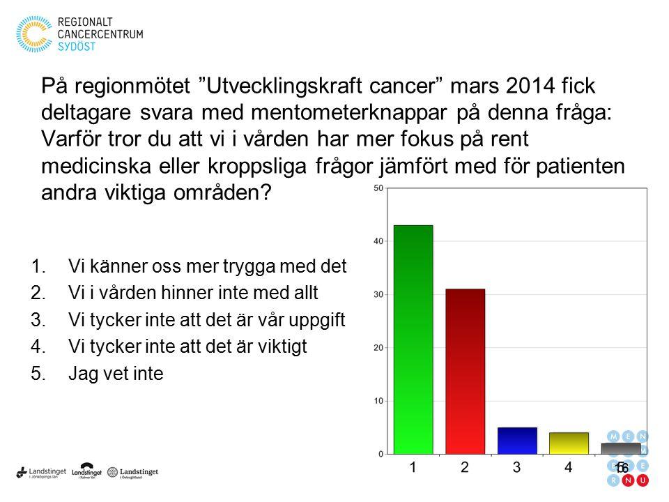 På regionmötet Utvecklingskraft cancer mars 2014 fick deltagare svara med mentometerknappar på denna fråga: Varför tror du att vi i vården har mer fokus på rent medicinska eller kroppsliga frågor jämfört med för patienten andra viktiga områden